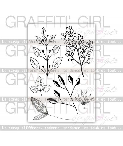 """Tampons Transparents """"Feuillage"""" tampons scrapbooking branches, feuillages, herbe, fleurs"""