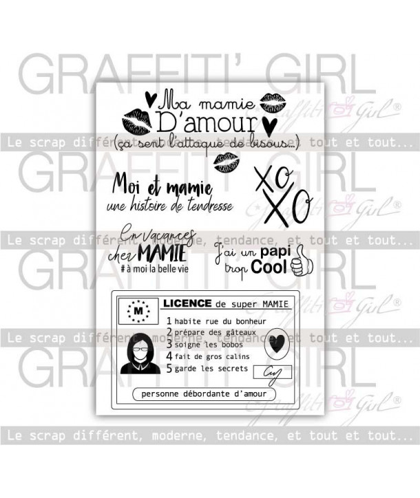 "Tampons Transparents ""Mamie"" tampons scrapbooking mamie , xoxo, carte de mamie, tampons étiquette mamie, bisous mamie, tampons a"