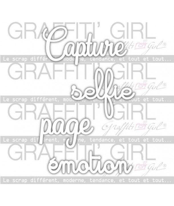 "Lot Mots plastique rigide ""Lovely Kraft"", photo, textes, capture, selfie, émotion, page"