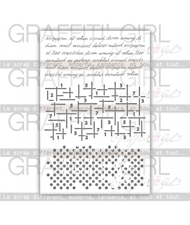 "Pochoir ""Girly"" env A6 grille, texte, manuscrit, fond, texture"