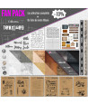 "Pack Collection ""Textures"" un kit de scrapbooking complet avec tampons, matrices de coupes, papiers cuirs, papiers liège, papier"