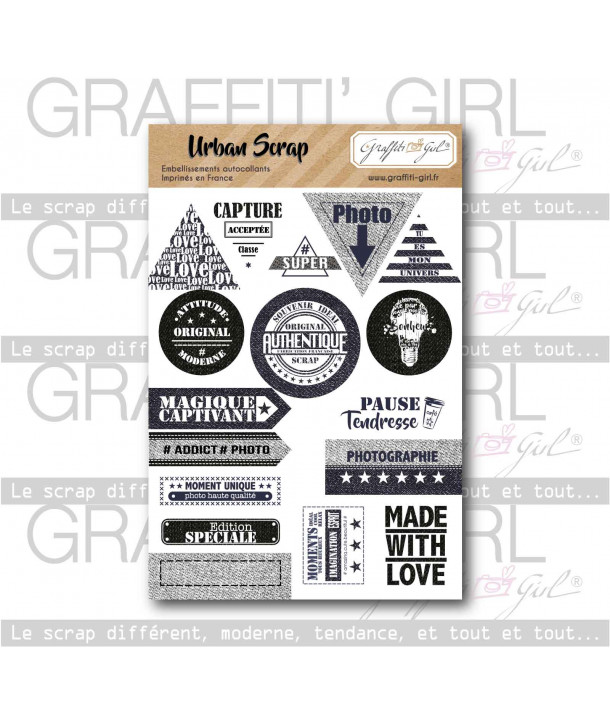 "Stickers ""Urban Scrap"" combo bleu marine, noir, blanc, ampoule, s'associent à la collection urban scrap de graffiti girl, texte"