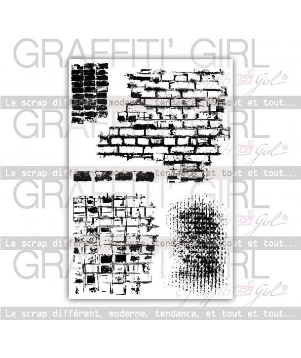 "Tampons Transparents ""Bricks and co"" de graffiti girl. motifs murs, briques, tampons grunges."