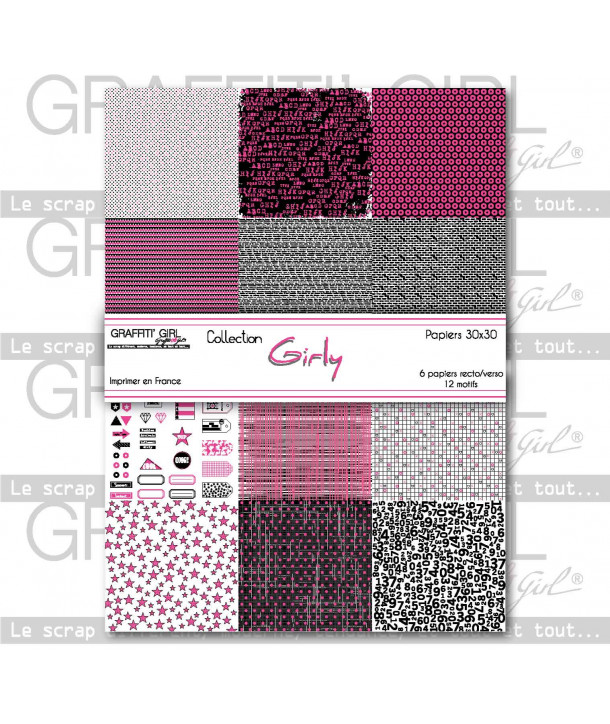 "Lot de papiers 30x30 recto/verso ""Girly"""