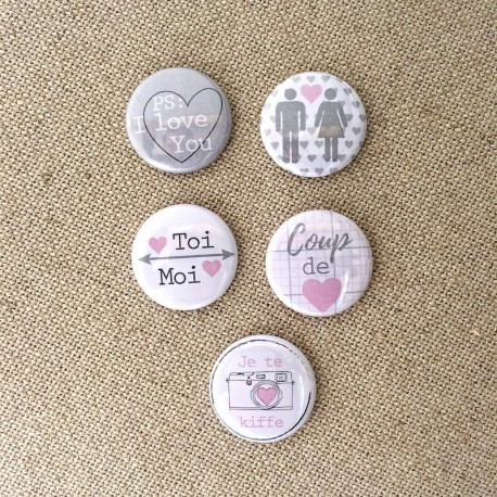 "Badges ""Cocon"" love tendresse douceur, coeur, toi moi , coeur, collection cocon, avec mousse 3D Scrappboking"