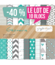 "Lot de 10 Blocs papiers ""Géomavie"" ideal pour Crop ou ateliers ou associations,"