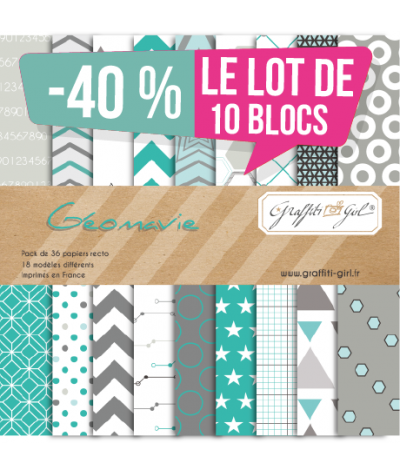 "Lot de 10 Blocs papiers ""Géomavie"""