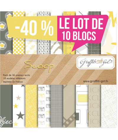"Lot de 10 Blocs papiers ""Scoop"""
