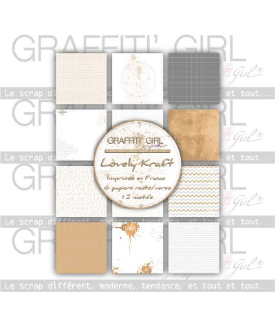 "Lot de papiers 30x30 recto/verso ""Lovely Kraft"""