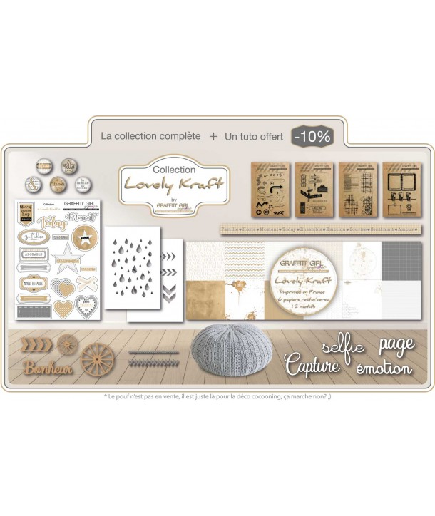 Pack Lovely Kraft de chez Graffiti Girl. comprend tampon BD des émotions, tampons gris, badges lovely Kraft, embellissement bois