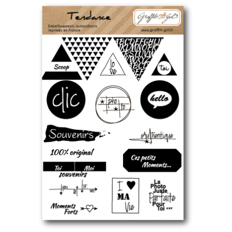"Stickers ""Tendance"" noir et blanc, black & white, triangle, cercles, click, photo, geometric"