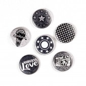 "Badges ""Urban Scrap"" métal, badges pour scrapbooking, urban scrap boutons de jeans, love, étoiles, appareil photo"
