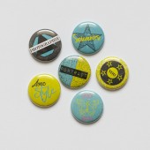 "Badges ""Moderne"" bleu, jaune, graphique, rond, cercle, style, vert anis, portrait, photo, scrapbooking , scrap, graffiti"