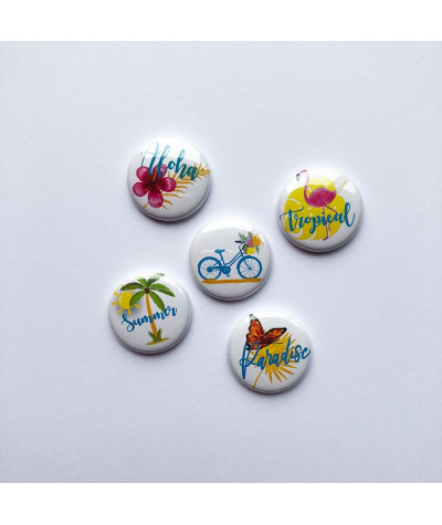 "Badges ""aloha"" vacances, paradis, vacances paradisiaque, button, badge, pins, palmiers, cocotier, papillon, flamand rose solei"