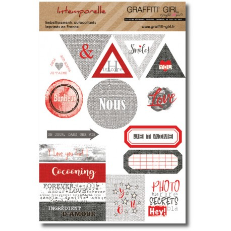 "Stickers ""Intemporelle"" planche d'autocollants collections triangles, cercles, étiquettes rouge, gris clair et gris foncés, thèm"