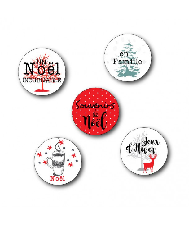 "Badges ""Noël at home"", sapin, joyeux noël, cerfs"