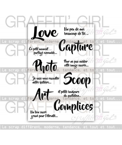 "Tampons Transparents ""Life"" love, capture, photo, scoop, art, complices tampons clears scrap"