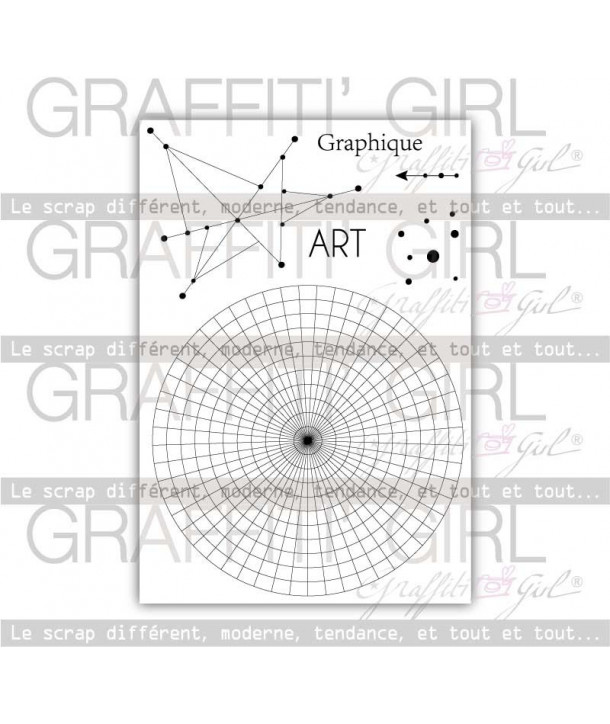 "Tampons Transparents ""Graphic"" cercle graphique, grande taille, astral, constellation, art, graphic, petits points, français"