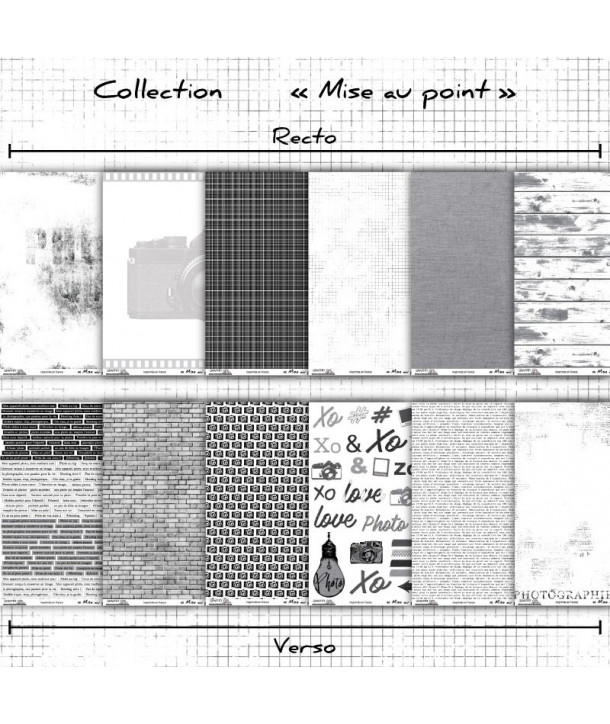 "Lot de papiers 30x30 recto/verso ""Mise au point"""