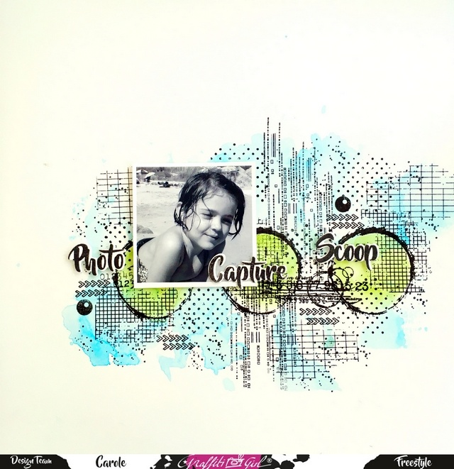scrapbooking, page, graffiti girl, tampons clear, photo, capture, scoop, vert, bleu, matrices de coupe,grillie, techno