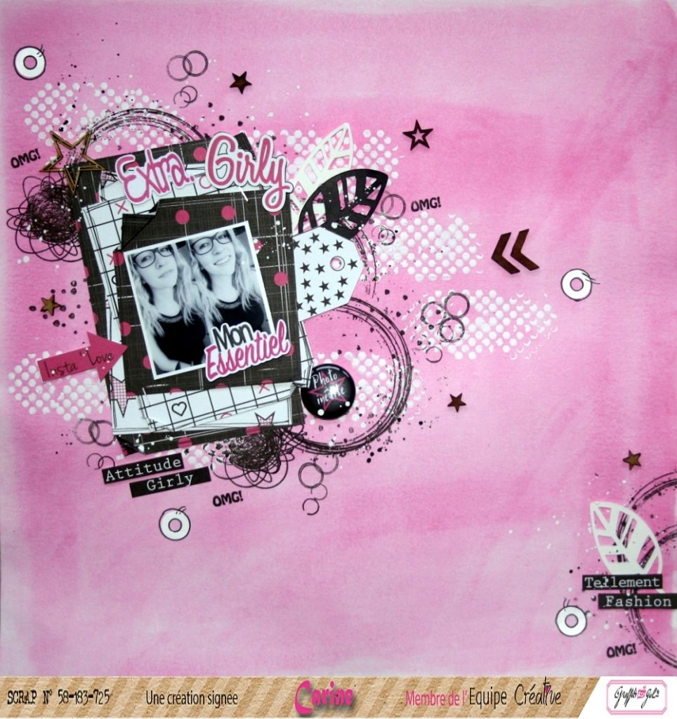 page de scrapbooking papiers girly