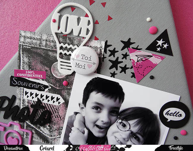 page de scrap avec un badge issu du lot de badges Cocon de la marque Graffiti girl