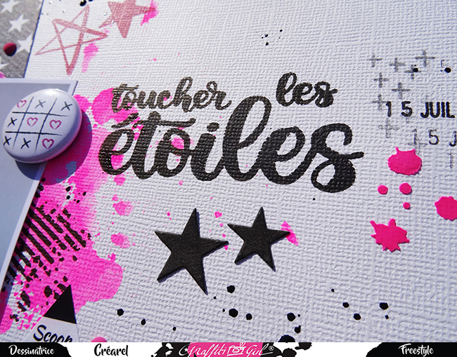 Page de scrap girly avec utilisation du lot de badges Girly de la marque Graffiti Girl