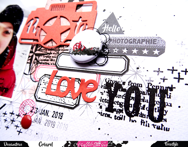 page de scrap utilisant un badge du lot Grunge de la marque Graffiti Girl