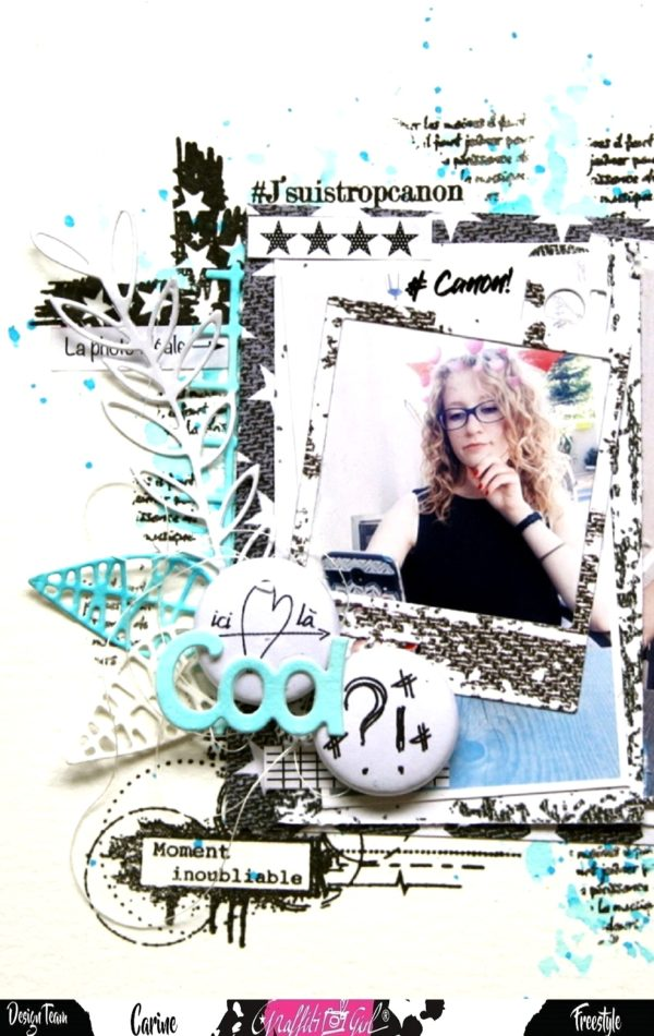 page de scrapbooking avec un badge du lot de badges Petite Nadia de la marque Graffiti Girl