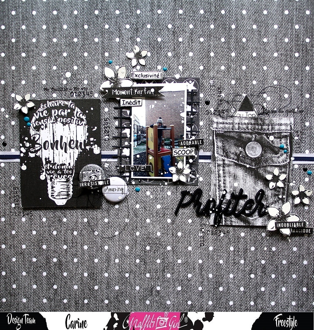 page de scrap avec un badge du lot de badge Urban Scrap de la marque Graffiti Girl