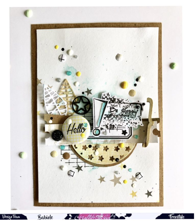 carte de scrap avec le dies Circle stars de Graffiti Girl