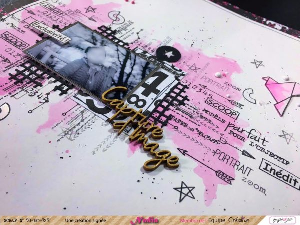 page de scrap utilisant le dies Grillage de Graffiti Girl